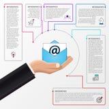 Vendita del email Concetto di affari con 6 punti Infographics Immagini Stock