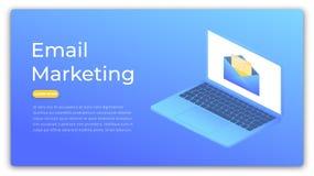 Vendita del email Concetto isometrico della pubblicità digitale, vendita, ottimizzazione del cliente Insegna di web di vendita Fotografie Stock Libere da Diritti