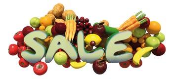 Vendita del gruppo di verdura e della frutta fotografia stock libera da diritti
