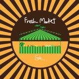 Vendita del mercato di prodotti freschi della tenda di carnevale illustrazione di stock