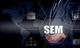 Vendita del motore di SEM-ricerca Concetto di strategia aziendale Fotografia Stock