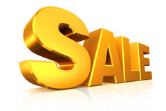 vendita del testo dell'oro 3D Fotografia Stock