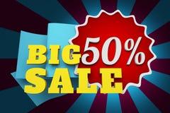 Vendita dell'insegna 50% fuori, grande vendita Immagini Stock