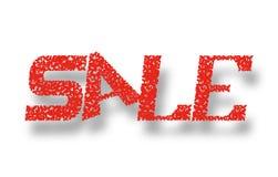 Vendita dell'insegna Lettere rosse su un fondo bianco Fotografia Stock