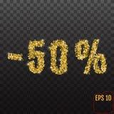 Vendita dell'oro 50 per cento Per cento dorati di vendita 50% sul BAC trasparente Fotografia Stock
