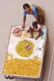 Vendita della donna frutta-Indiana fotografie stock libere da diritti