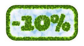 Vendita della molla del Wobbler 10 per cento fuori Lettere e figure dalle foglie di acero su un fondo celeste con l'effetto di Immagini Stock