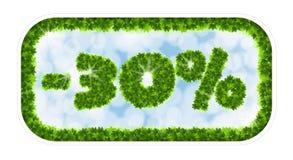 Vendita della molla del Wobbler 30 per cento fuori Lettere e figure dalle foglie di acero su un fondo celeste con l'effetto di Immagine Stock