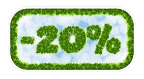 Vendita della molla del Wobbler 20 per cento fuori Lettere e figure dalle foglie di acero su un fondo celeste con l'effetto di Fotografie Stock Libere da Diritti