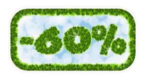 Vendita della molla del Wobbler 60 per cento fuori Lettere e figure dalle foglie di acero su un fondo celeste con l'effetto di Fotografia Stock Libera da Diritti