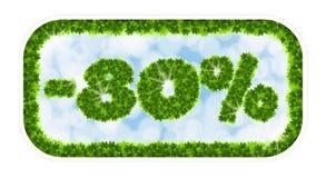 Vendita della molla del Wobbler 80 per cento fuori Lettere e figure dalle foglie di acero su un fondo celeste con l'effetto di Immagini Stock Libere da Diritti