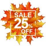 Vendita 25 delle foglie di autunno nel telaio Fotografie Stock