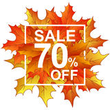 Vendita 70 delle foglie di autunno nel telaio Fotografia Stock