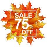 Vendita 75 delle foglie di autunno nel telaio Fotografia Stock