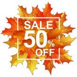 Vendita 50 delle foglie di autunno nel telaio Immagine Stock
