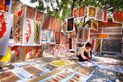 Vendita delle pitture di sabbia in Bagan Fotografie Stock Libere da Diritti