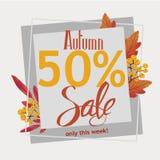Vendita di autunno 50%, aletta di filatoio, insegna, modello del manifesto illustrazione di stock