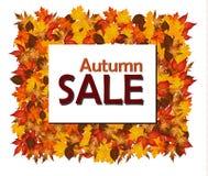 Vendita di autunno con le foglie di autunno Immagini Stock Libere da Diritti