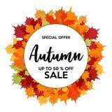 Vendita di autunno 50% fuori dallo sconto dei negozi illustrazione di stock