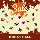 Vendita di autunno, grande caduta, illustrazione di vettore Fotografia Stock Libera da Diritti
