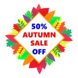 Vendita di autunno, insegna di progettazione di vettore con le foglie colorate Fotografia Stock