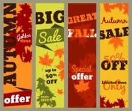 Vendita di autunno - insieme delle insegne verticali Fotografie Stock