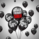 Vendita di Black Friday con i palloni neri e gli sconti Fotografia Stock Libera da Diritti