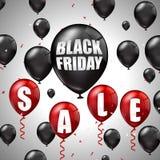 Vendita di Black Friday con i palloni neri e rossi e gli sconti Immagini Stock