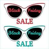 Vendita di Black Friday del distintivo dell'icona di vettore Occhiali da sole, Black Friday Fotografie Stock Libere da Diritti
