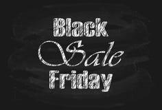 Vendita di Black Friday dell'iscrizione sulla lavagna nera Immagini Stock