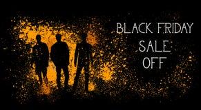 Vendita di Black Friday fuori dall'insegna con le siluette della gente su progettazione del manifesto di acquisto del fondo del c Fotografie Stock Libere da Diritti