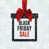 Vendita di Black Friday, insegna quadrata nella forma di regalo di Natale Illustrazione Vettoriale