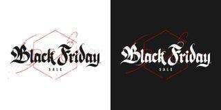 Vendita di Black Friday, iscrizione gotica Fotografia Stock