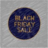 Vendita di Black Friday nelle lettere dorate nel cerchio blu scuro su fondo grigio Immagini Stock