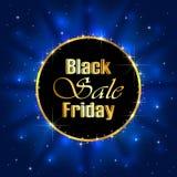 Vendita di Black Friday su fondo stellato blu Fotografie Stock Libere da Diritti