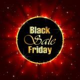 Vendita di Black Friday su fondo stellato rosso Immagine Stock Libera da Diritti