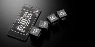 Vendita di Black Friday su uno schermo dello smartphone e sui cubi di sconto su fondo nero, insegna, spazio della copia illustraz Fotografia Stock
