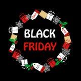 Vendita di Black Friday di un modello di progettazione dell'etichetta con gli elementi tradizionali di acquisto Insegna nera di v Immagine Stock