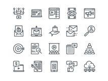 Vendita di Digital Insieme delle icone di vettore del profilo Include come il video, il commercio elettronico, l'analisi dei dati Fotografie Stock