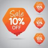 vendita di 10% 15%, disco, fuori sull'etichetta arancio allegra per la commercializzazione della progettazione al minuto dell'ele Fotografie Stock