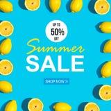 Vendita di estate con il modello fresco del limone Fotografia Stock Libera da Diritti