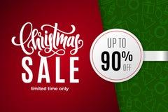 Vendita di festa di Natale 90 per cento fuori con l'autoadesivo di carta su fondo con le icone Tempo limitato soltanto illustrazione vettoriale