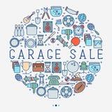 Vendita di garage o concetto del mercato delle pulci nel cerchio illustrazione di stock