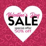 Vendita di giorno di biglietti di S. Valentino Modello promozionale di sconto di vettore Fotografia Stock