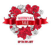 Vendita di giorno di biglietti di S. Valentino Insegna d'annata rossa realistica del nastro Fotografia Stock