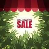 Vendita di Halloween della folla dello zombie Immagini Stock
