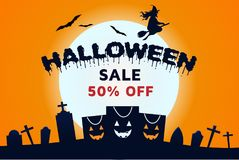 Vendita di Halloween della strega fuori dalla carta da parati dell'insegna fotografia stock libera da diritti