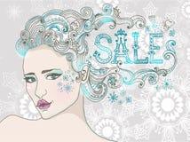 Vendita di inverno e bella donna disegnata a mano Immagini Stock