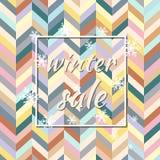 Vendita di inverno Illustrazione di vettore Fondo di inverno dello stylle del gallone per la promozione stagionale Può essere usa fotografia stock