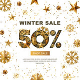 Vendita di inverno 50 per cento fuori, insegna con le stelle d'oro 3d e fiocchi di neve Fotografia Stock